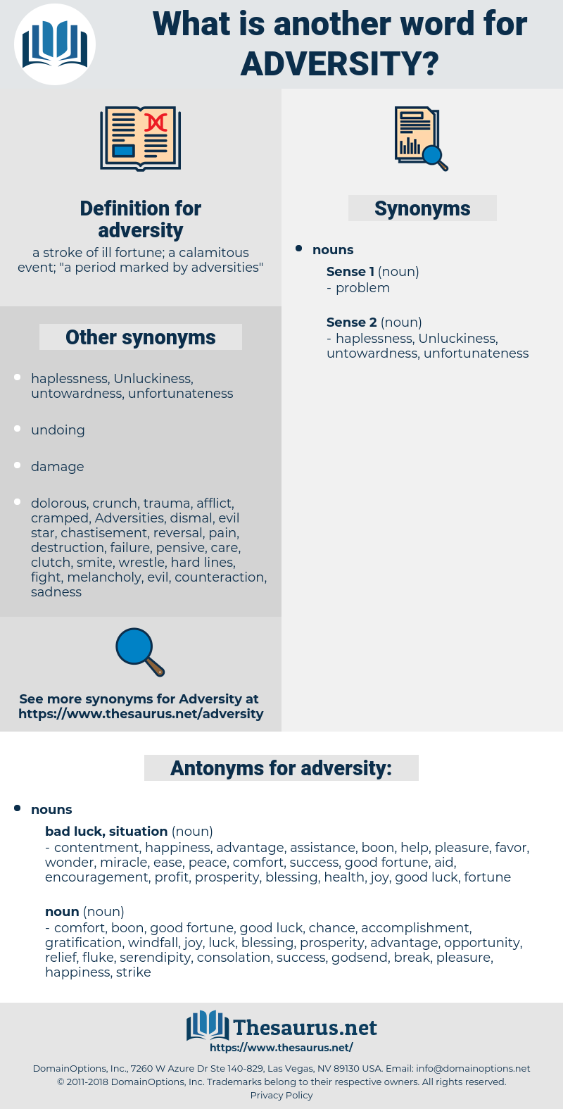 Synonyms for ADVERSITY - Thesaurus.net