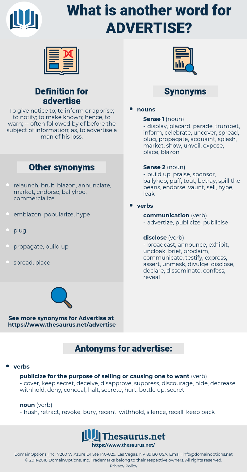 advertise, synonym advertise, another word for advertise, words like advertise, thesaurus advertise