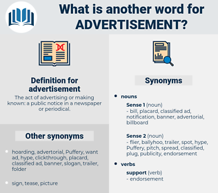 advertisement, synonym advertisement, another word for advertisement, words like advertisement, thesaurus advertisement