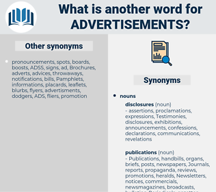 Advertisements, synonym Advertisements, another word for Advertisements, words like Advertisements, thesaurus Advertisements