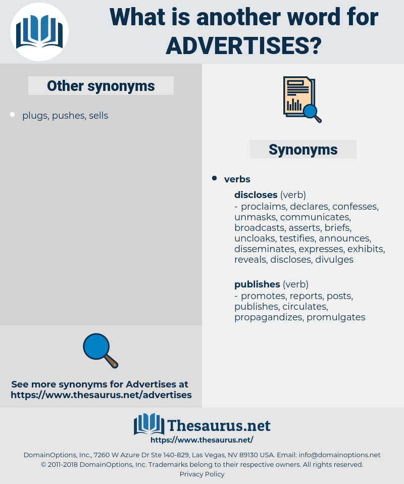 advertises, synonym advertises, another word for advertises, words like advertises, thesaurus advertises