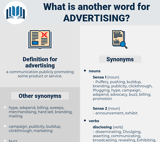 advertising, synonym advertising, another word for advertising, words like advertising, thesaurus advertising