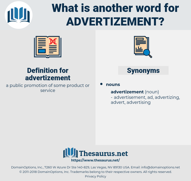 advertizement, synonym advertizement, another word for advertizement, words like advertizement, thesaurus advertizement