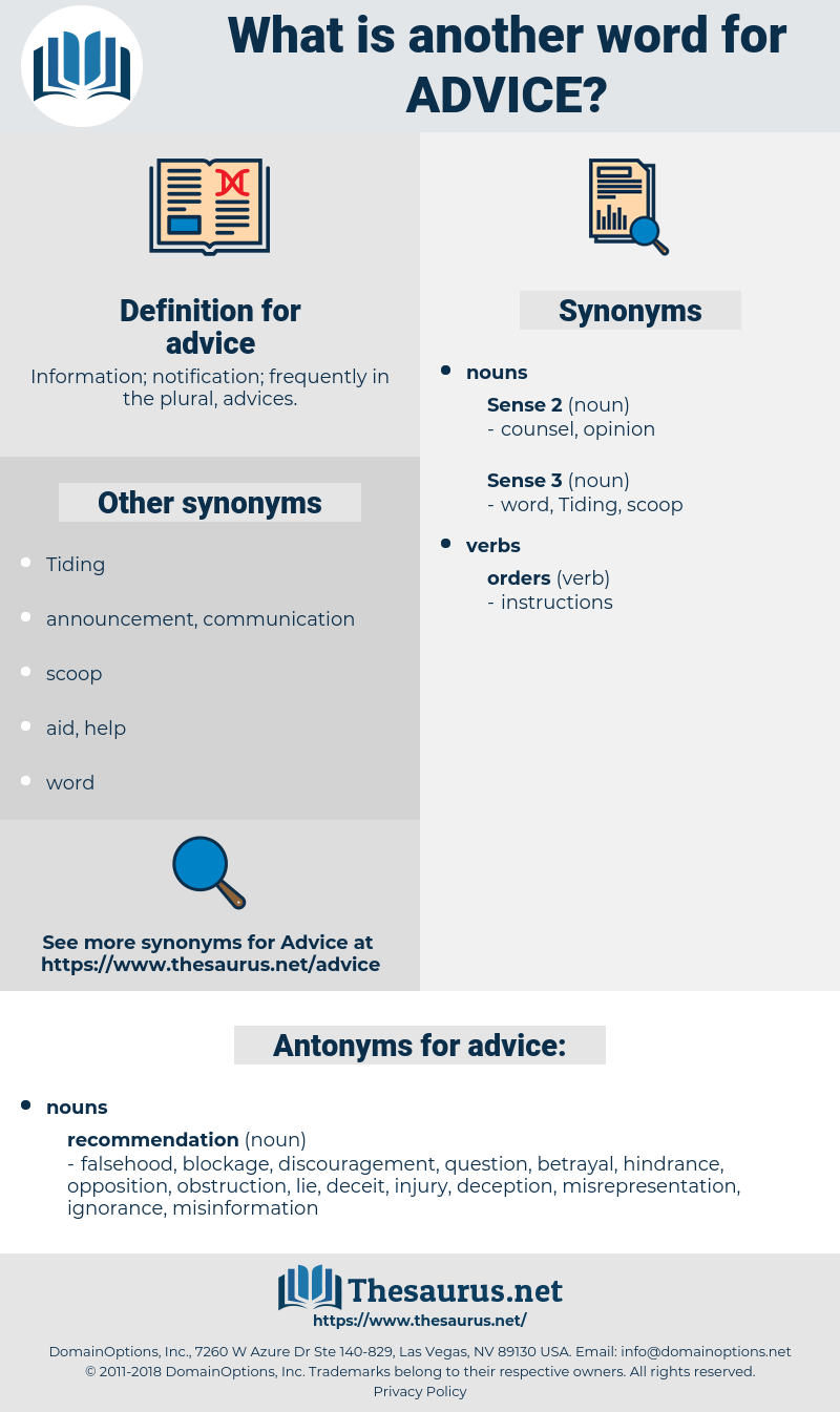 Synonyms for ADVICE, Antonyms for ADVICE - Thesaurus net