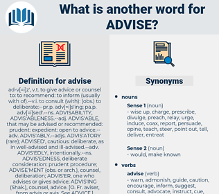 advise, synonym advise, another word for advise, words like advise, thesaurus advise