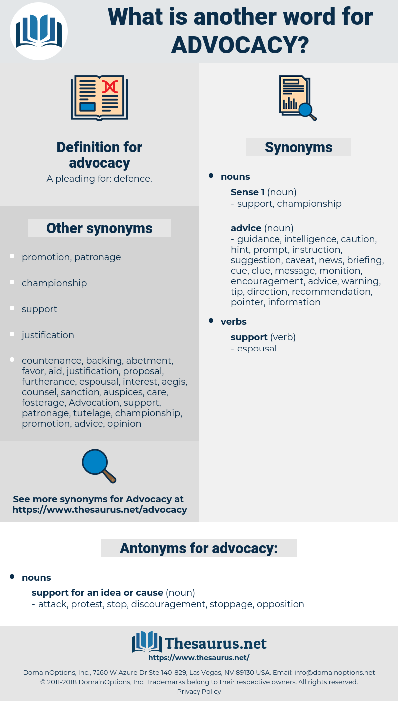 synonyms for advocacy - thesaurus