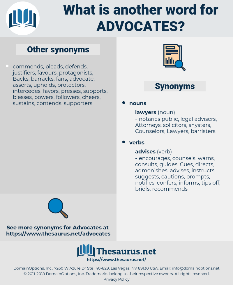 advocates, synonym advocates, another word for advocates, words like advocates, thesaurus advocates