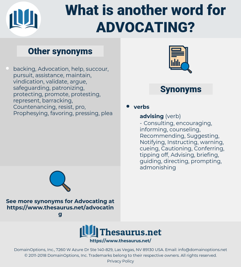 Advocating, synonym Advocating, another word for Advocating, words like Advocating, thesaurus Advocating