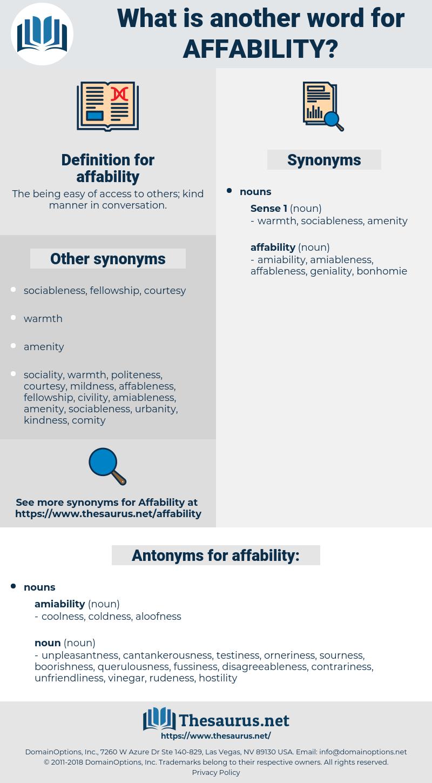affability, synonym affability, another word for affability, words like affability, thesaurus affability