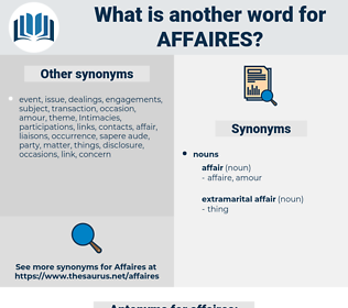 affaires, synonym affaires, another word for affaires, words like affaires, thesaurus affaires