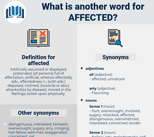 affected, synonym affected, another word for affected, words like affected, thesaurus affected