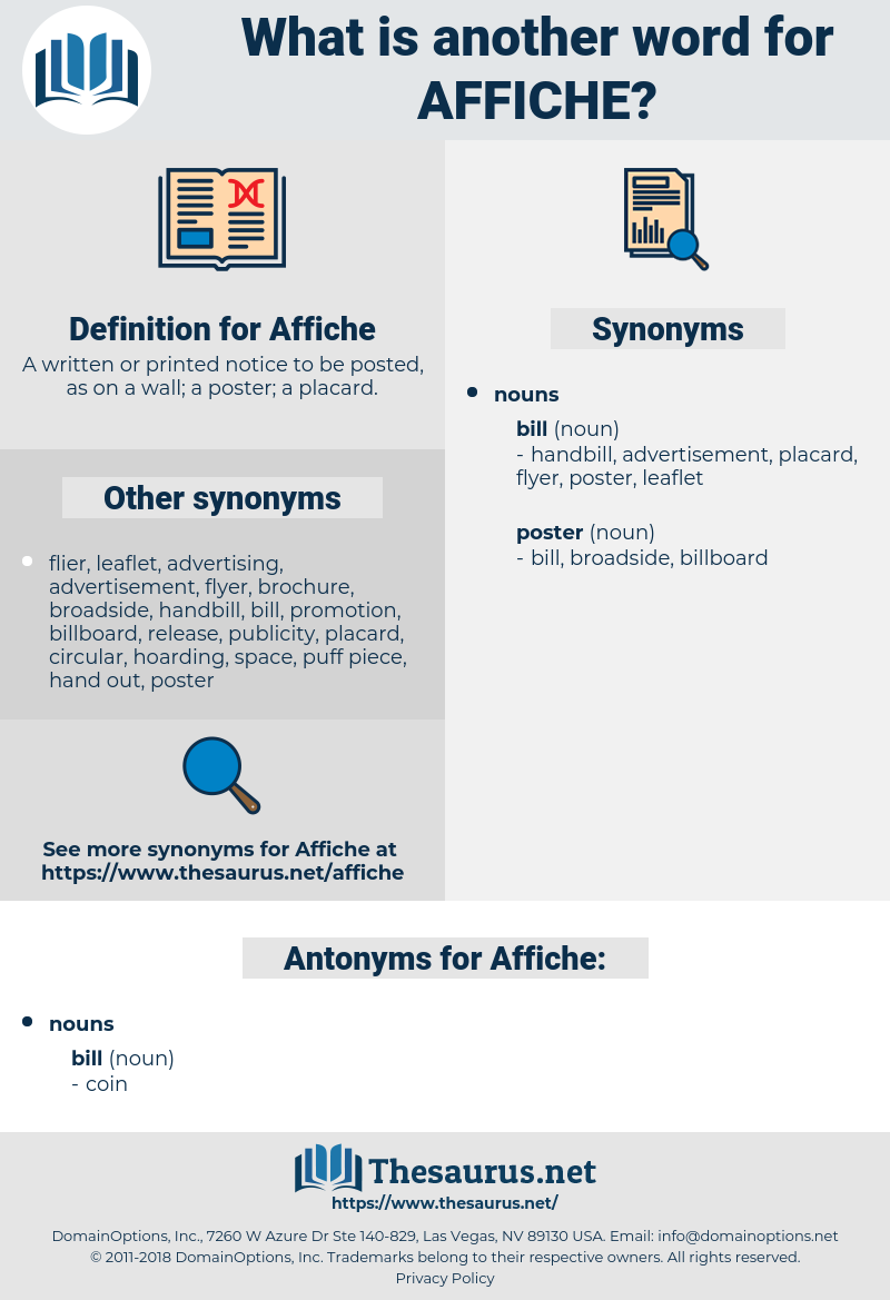 Affiche, synonym Affiche, another word for Affiche, words like Affiche, thesaurus Affiche