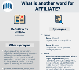 affiliate, synonym affiliate, another word for affiliate, words like affiliate, thesaurus affiliate