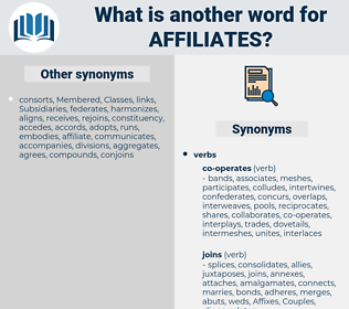 affiliates, synonym affiliates, another word for affiliates, words like affiliates, thesaurus affiliates