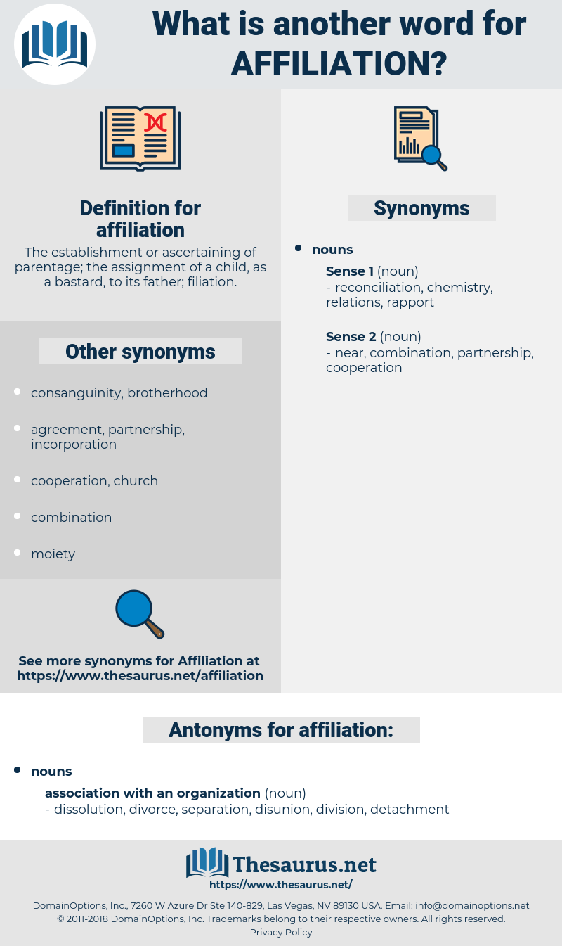 affiliation, synonym affiliation, another word for affiliation, words like affiliation, thesaurus affiliation