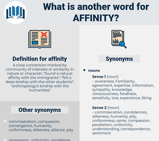 affinity, synonym affinity, another word for affinity, words like affinity, thesaurus affinity