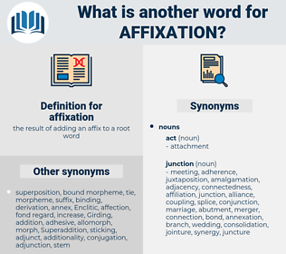 affixation, synonym affixation, another word for affixation, words like affixation, thesaurus affixation