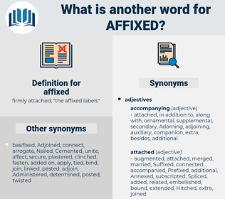 affixed, synonym affixed, another word for affixed, words like affixed, thesaurus affixed
