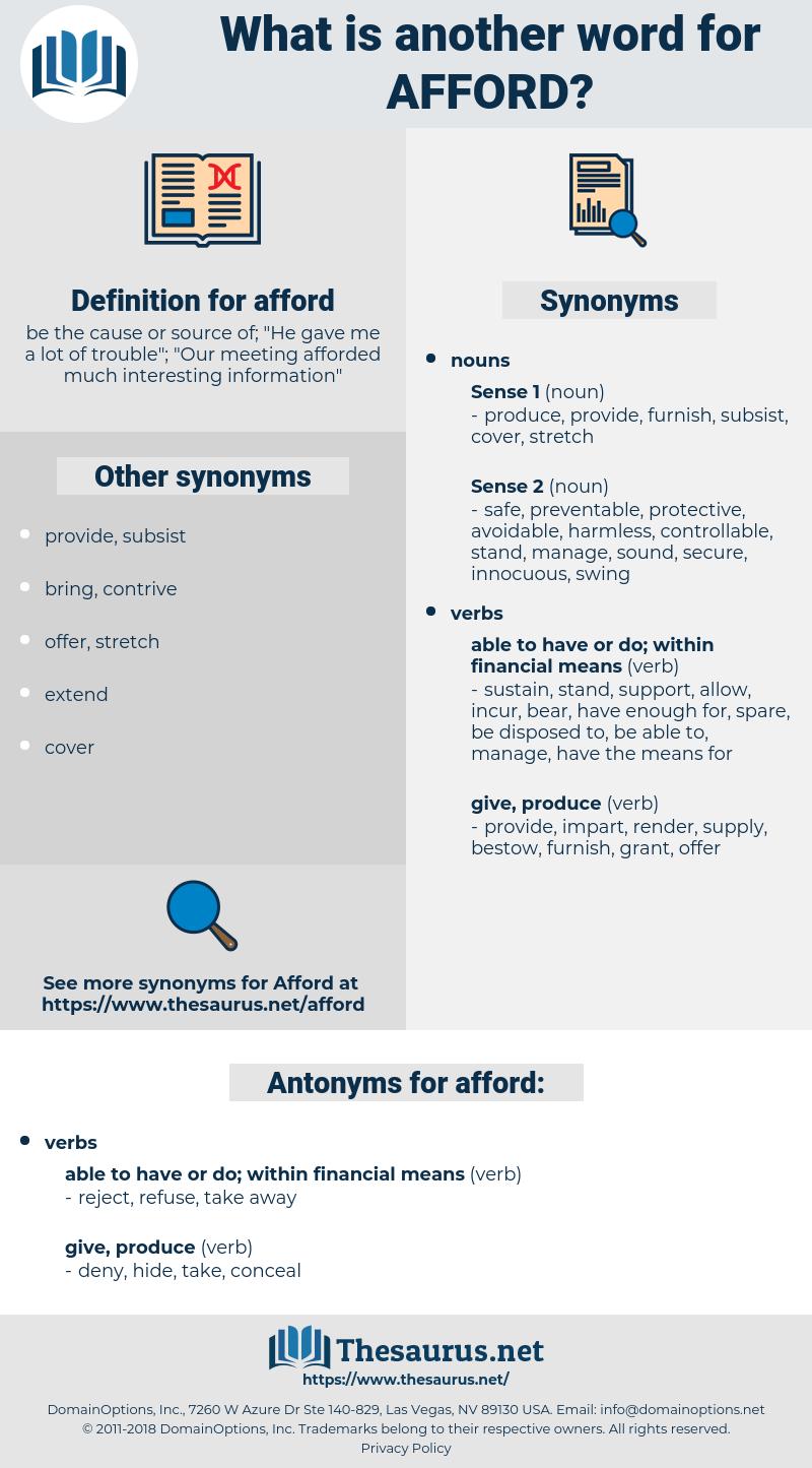 afford, synonym afford, another word for afford, words like afford, thesaurus afford