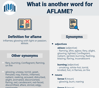 aflame, synonym aflame, another word for aflame, words like aflame, thesaurus aflame
