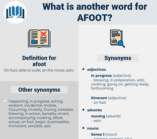 afoot, synonym afoot, another word for afoot, words like afoot, thesaurus afoot