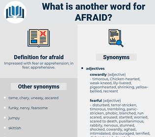 afraid, synonym afraid, another word for afraid, words like afraid, thesaurus afraid