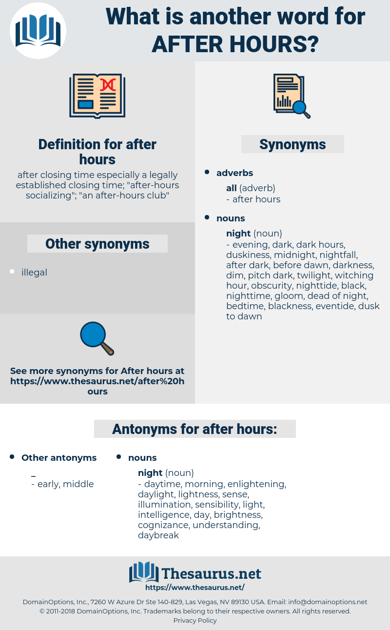 after hours, synonym after hours, another word for after hours, words like after hours, thesaurus after hours