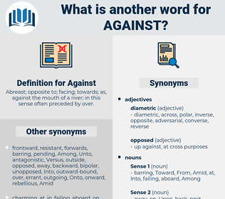 Against, synonym Against, another word for Against, words like Against, thesaurus Against