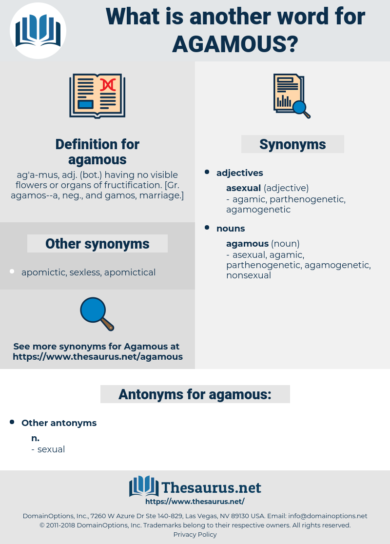 agamous, synonym agamous, another word for agamous, words like agamous, thesaurus agamous