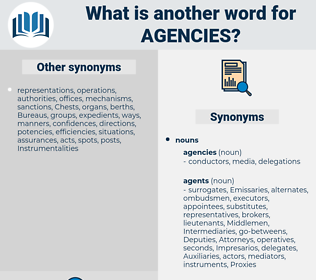 Agencies, synonym Agencies, another word for Agencies, words like Agencies, thesaurus Agencies