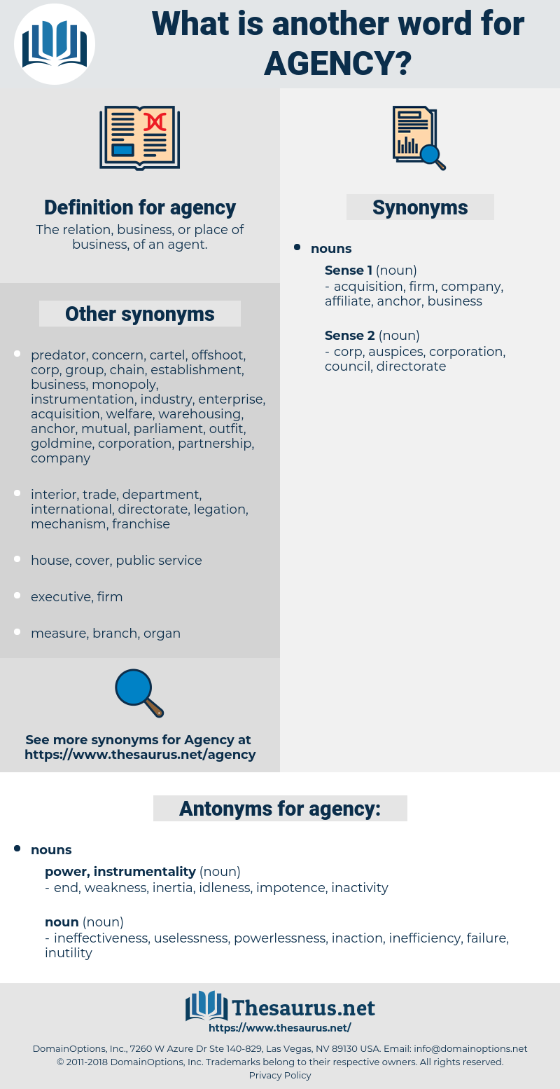 agency, synonym agency, another word for agency, words like agency, thesaurus agency