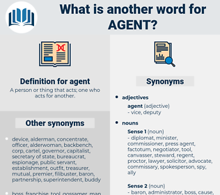 agent, synonym agent, another word for agent, words like agent, thesaurus agent