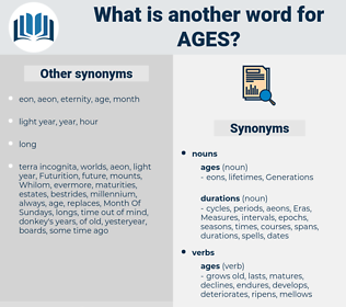 ages, synonym ages, another word for ages, words like ages, thesaurus ages