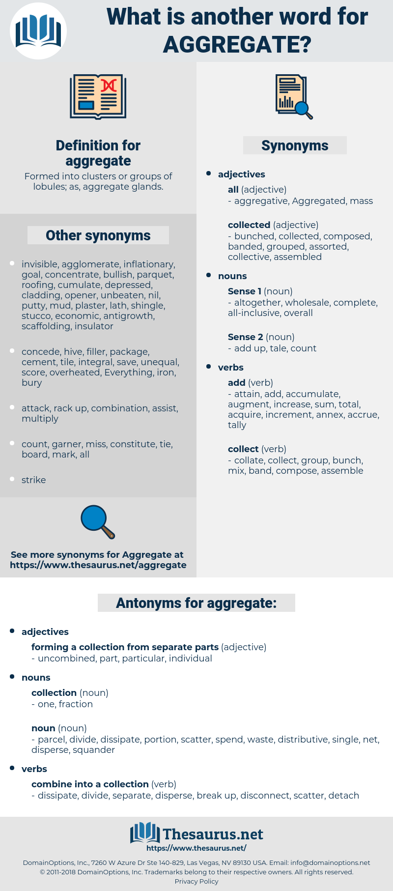 aggregate, synonym aggregate, another word for aggregate, words like aggregate, thesaurus aggregate