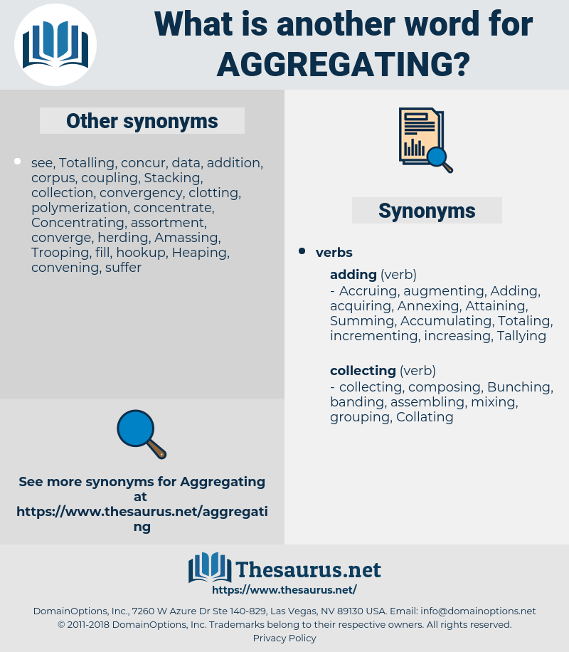 Aggregating, synonym Aggregating, another word for Aggregating, words like Aggregating, thesaurus Aggregating