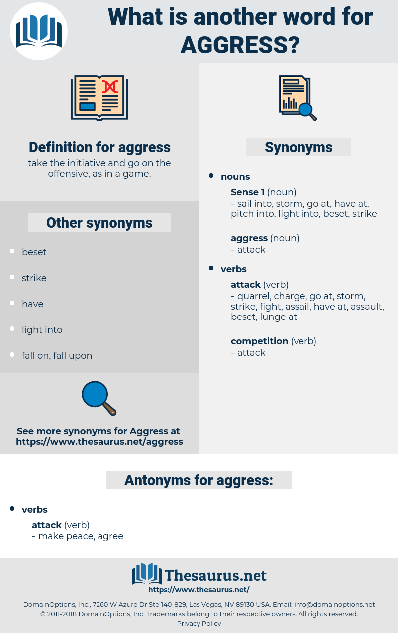 aggress, synonym aggress, another word for aggress, words like aggress, thesaurus aggress