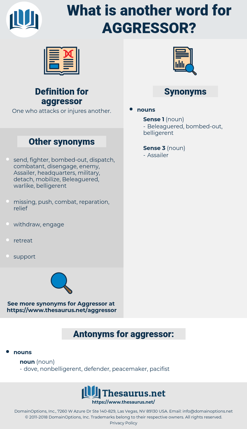 aggressor, synonym aggressor, another word for aggressor, words like aggressor, thesaurus aggressor