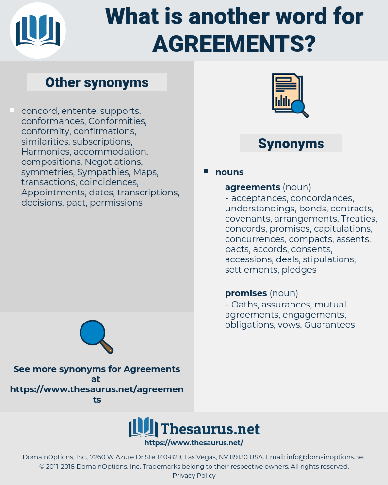 agreements, synonym agreements, another word for agreements, words like agreements, thesaurus agreements