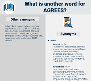 agrees, synonym agrees, another word for agrees, words like agrees, thesaurus agrees