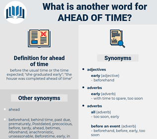 ahead of time, synonym ahead of time, another word for ahead of time, words like ahead of time, thesaurus ahead of time