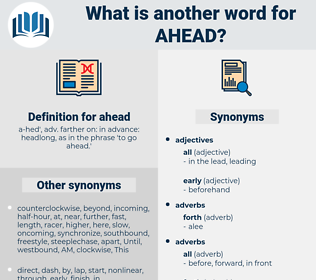 ahead, synonym ahead, another word for ahead, words like ahead, thesaurus ahead