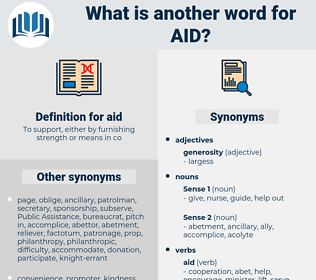 aid, synonym aid, another word for aid, words like aid, thesaurus aid