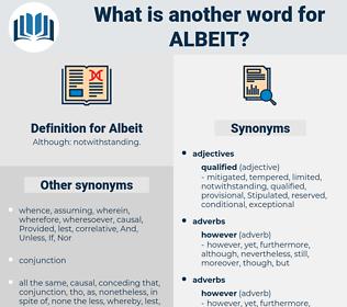 Albeit, synonym Albeit, another word for Albeit, words like Albeit, thesaurus Albeit