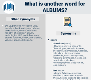 albums, synonym albums, another word for albums, words like albums, thesaurus albums