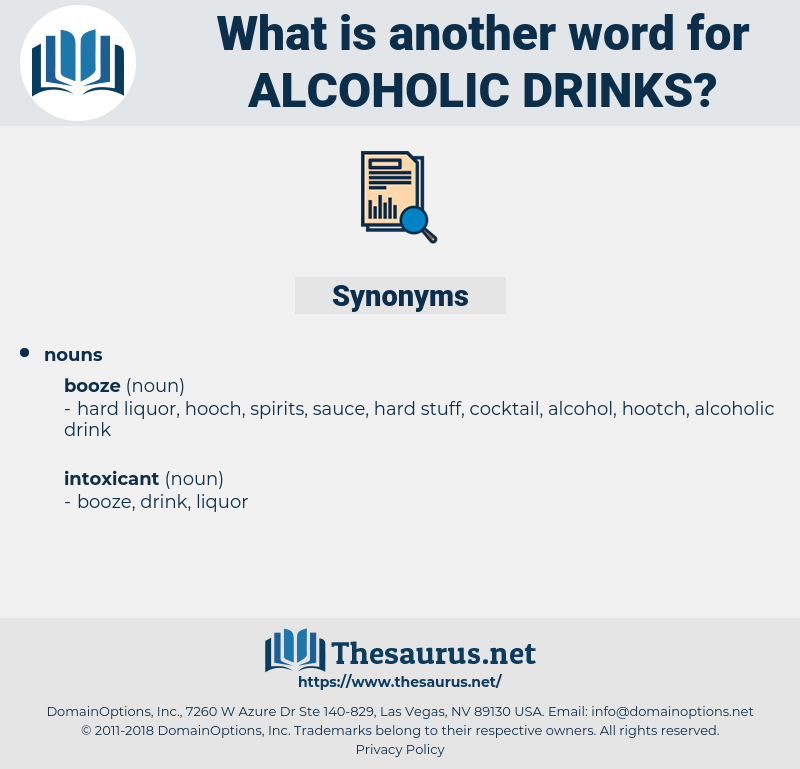 Synonyms for ALCOHOLIC DRINKS - Thesaurus net