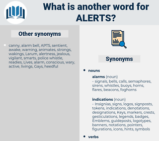alerts, synonym alerts, another word for alerts, words like alerts, thesaurus alerts