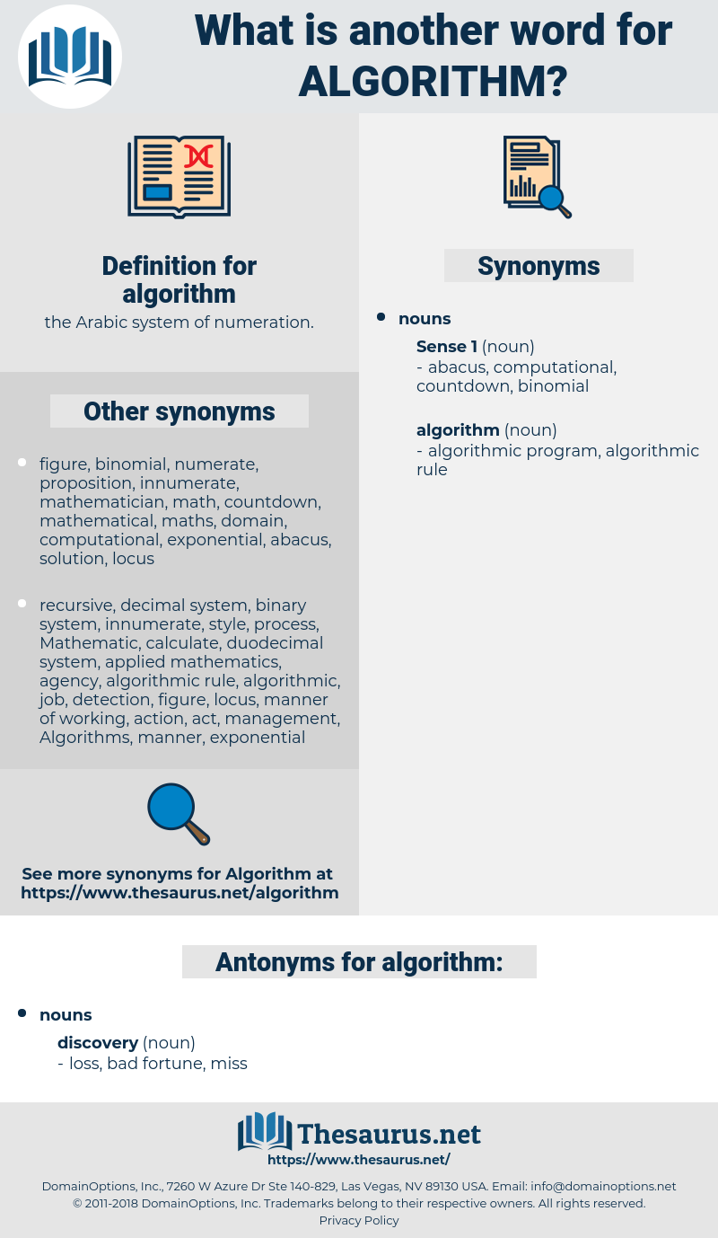 algorithm, synonym algorithm, another word for algorithm, words like algorithm, thesaurus algorithm
