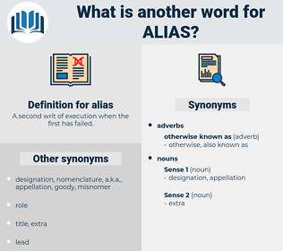 alias, synonym alias, another word for alias, words like alias, thesaurus alias