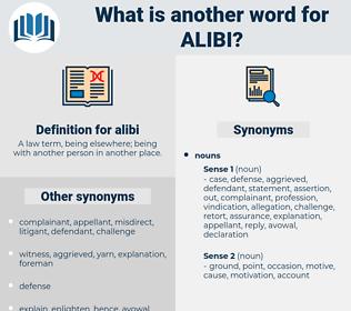 alibi, synonym alibi, another word for alibi, words like alibi, thesaurus alibi