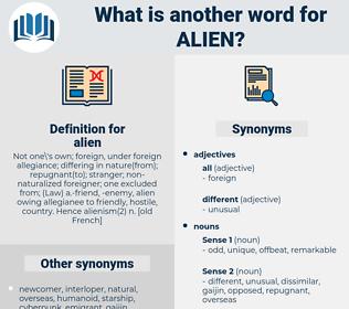 alien, synonym alien, another word for alien, words like alien, thesaurus alien